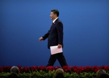 Chinese President Xi Jinping leaves the stage after speaking during the opening ceremony of the Belt and Road Forum in Beijing on May 14. Photographer: Pool/Getty Images