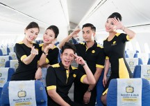 Scoot crew, known as Scooties, showing off their new uniforms. Photo: Scoot