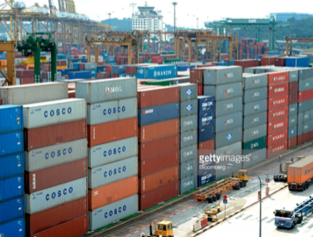 Containers at Singapore port