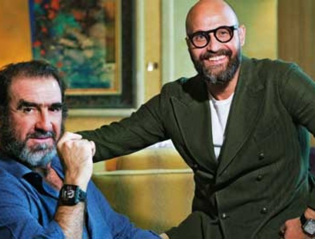 Cantona (left) with Reginelli: To exceed the limits imposed on us by society or ourselves, we need to know how to surpass ourselves, to push further, to think and be different